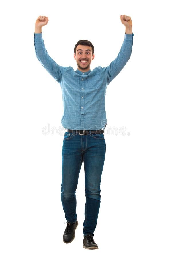 Winner hands up royalty free stock photo