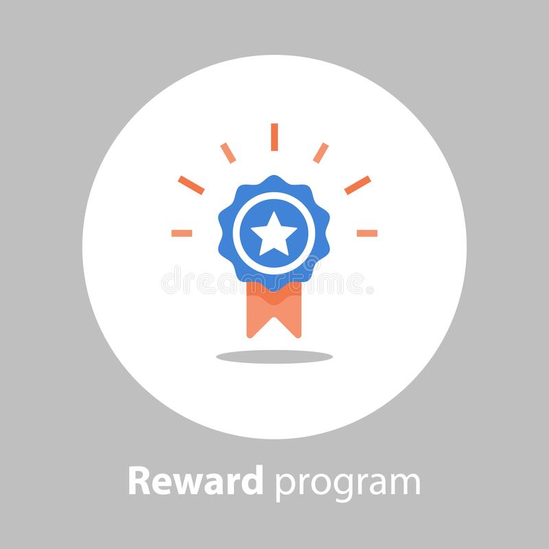 Free Winner Medal, Reward Program, First Place, Win Super Prize, Achievement And Accomplishment Concept, Earn Points, Flat Icon Stock Photos - 116565203