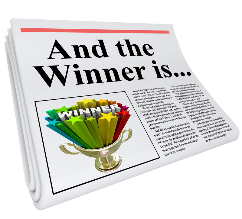 And the Winner Is Newspaper Headline Announcement Trophy royalty free illustration