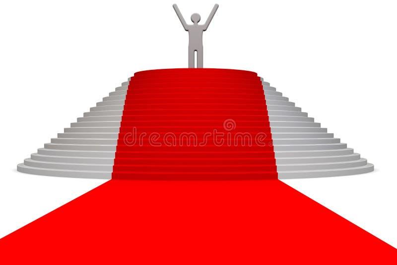 Winner on the pedestal. Red carpet and pedestal with winner. . 3D Illustration stock illustration