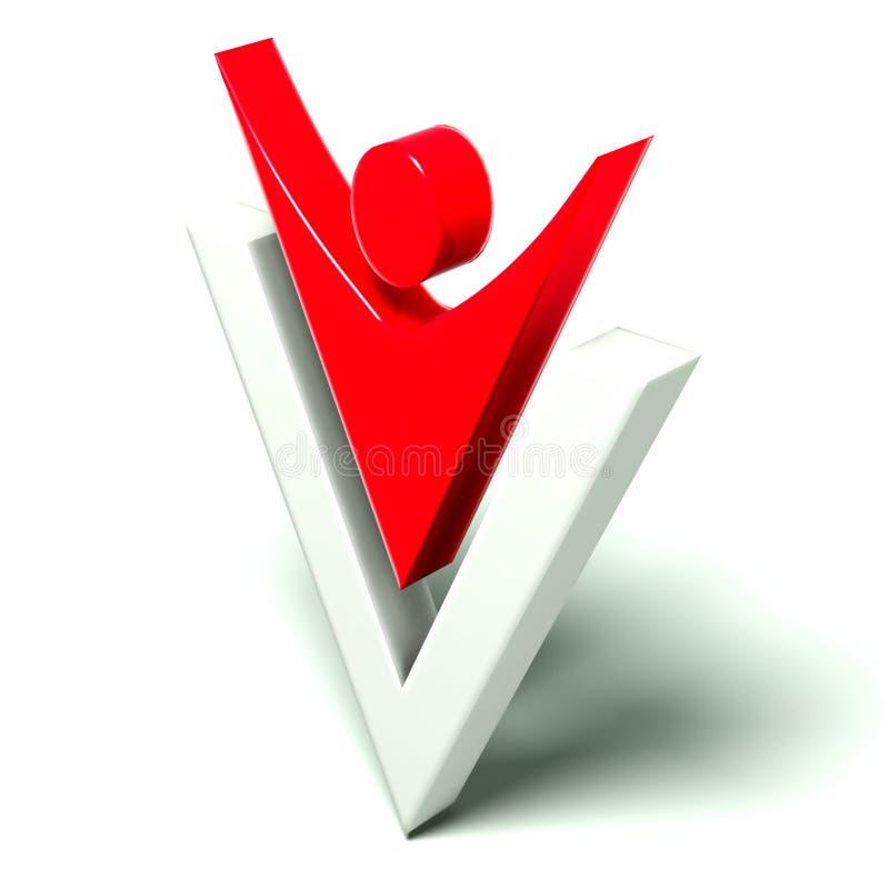 Winner people logo in letter v. Winner people logo in victory, Isolated 3D, white background stock illustration