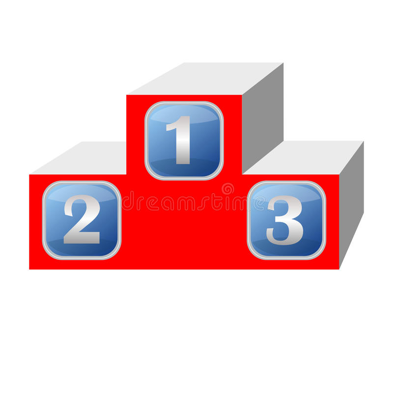 Winner podium in 3d design, red color, blue numbers vector illustration