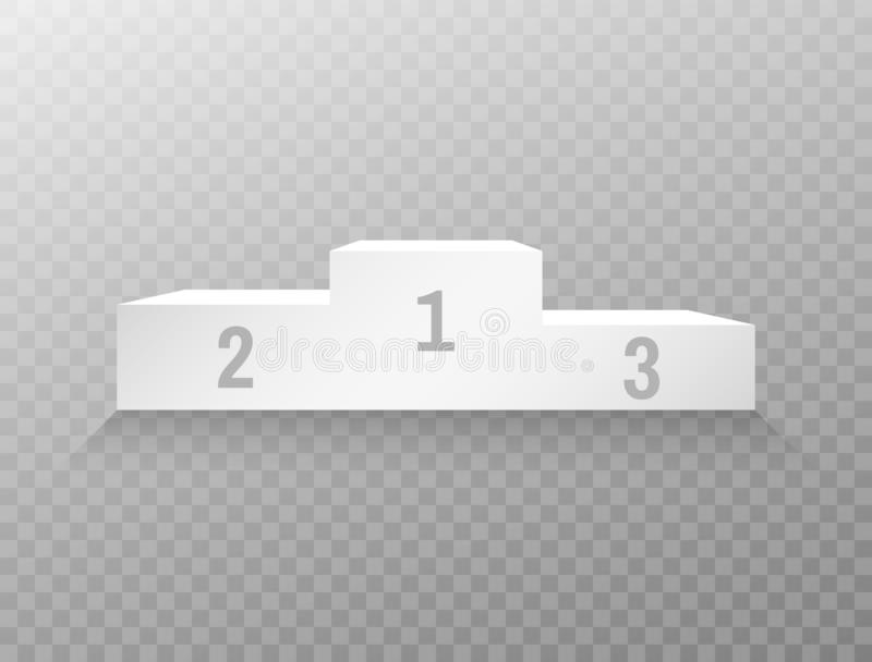 Winner podium on transparent background. Empty white pedestal template. Stage for champions. Realistic platform for royalty free stock photo
