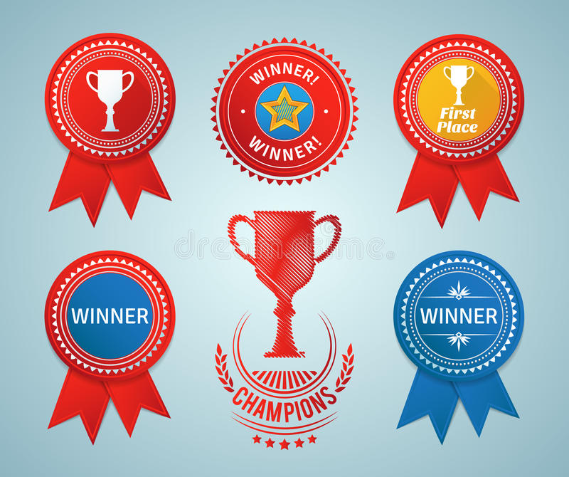Winner ribbons and badges royalty free illustration