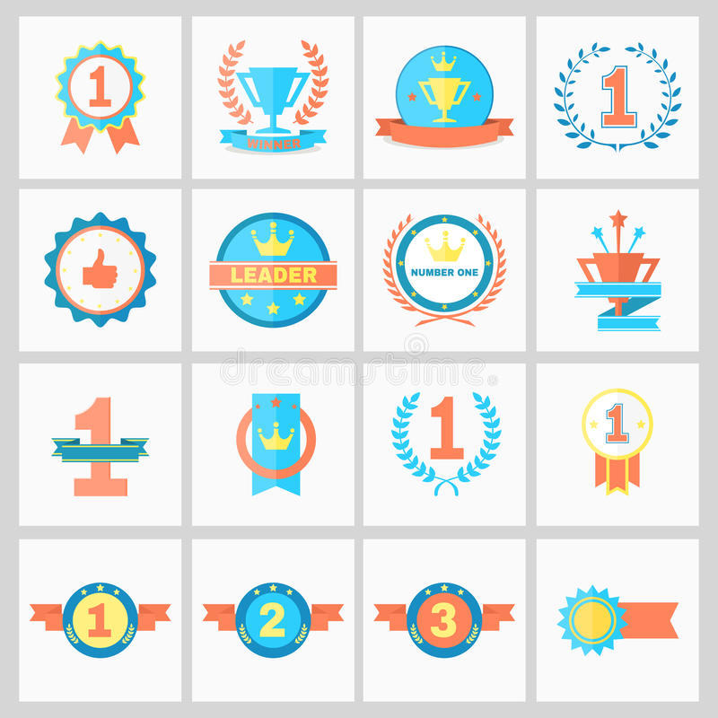 Winner Ribbons. First Place Badges and Winner Ribbons vector illustration vector illustration