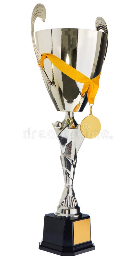 Winner`s cup, silver, gold prize in the competition with a medal royalty free stock photography