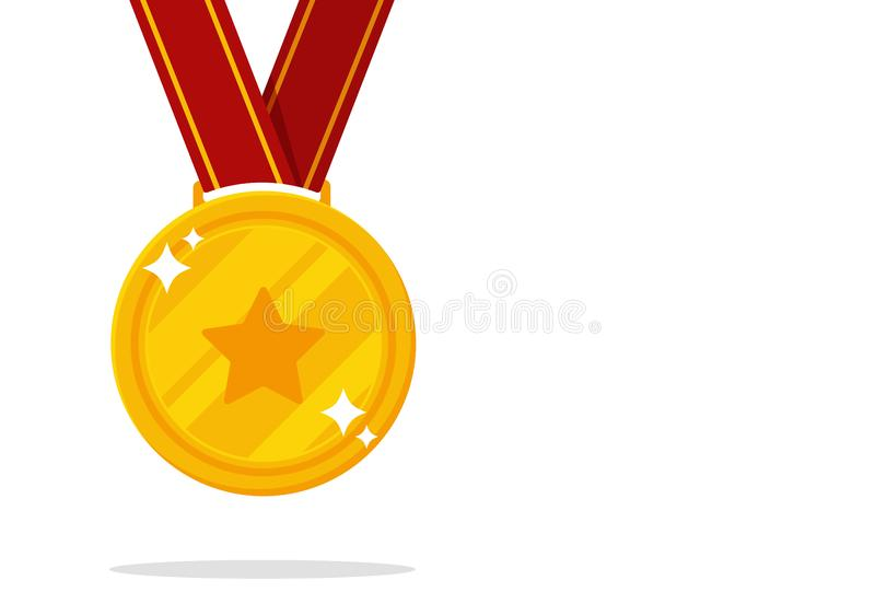 Winner's medal vector. Gold medal symbol of victory in sports events royalty free illustration