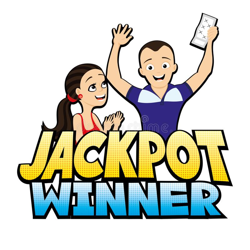 Jackpot winner sign with a happy couple. Jackpot winner sign with a happy couple on a white background vector illustration