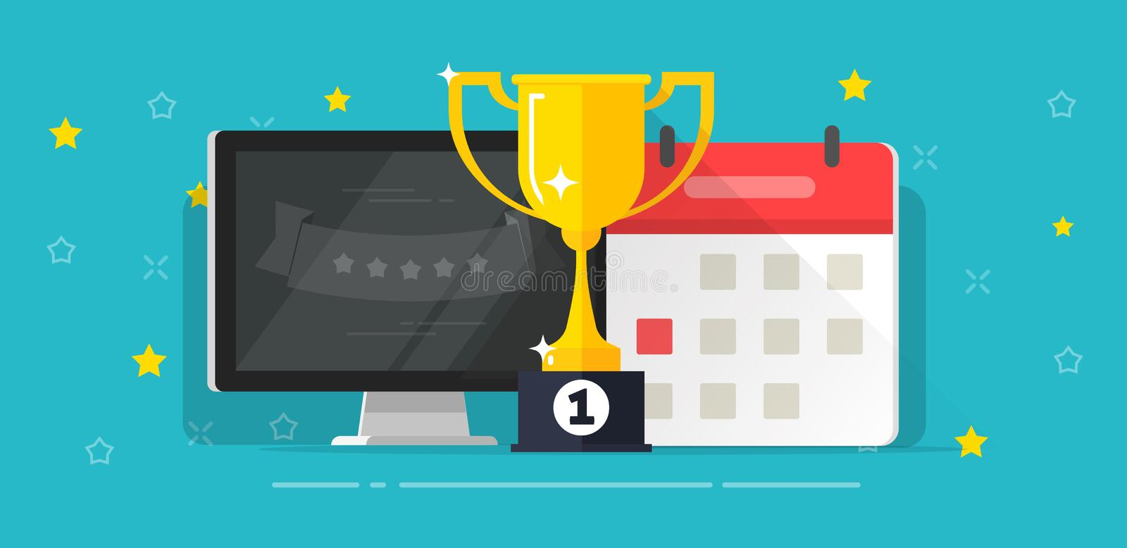 Winner success award cup with first place near computer and calendar date vector illustration flat cartoon, strategy vector illustration
