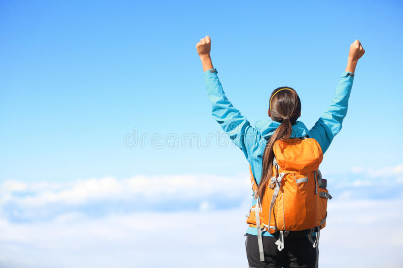 Winner / Success concept - hiking royalty free stock image