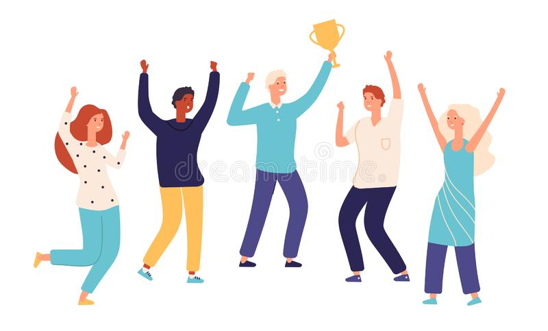 Winner team. Leader champion with gold trophy cup and happy excited employees celebrate win. Successful teamwork vector stock illustration