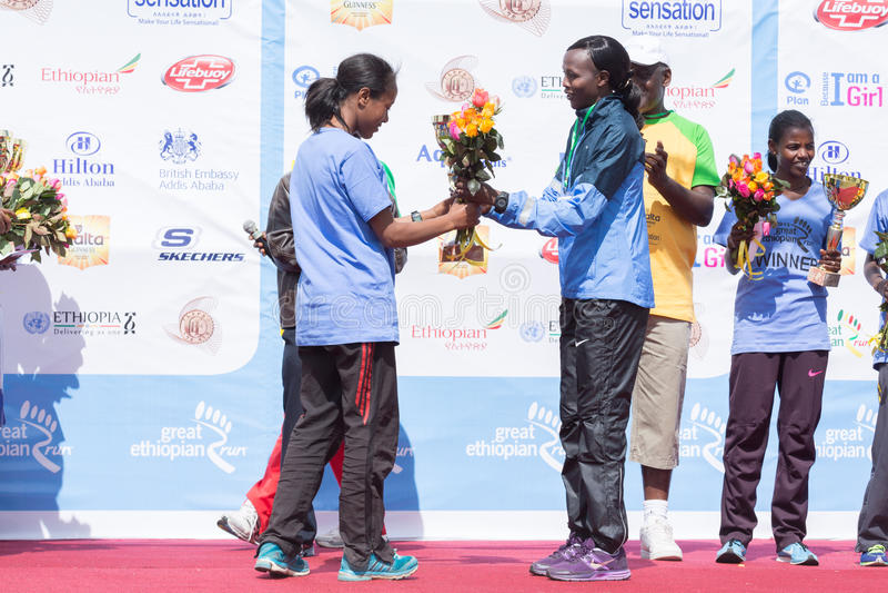Winner of the 13th Edition Great Ethiopian Run women's race. Addis Ababa, Ethiopia – November 24: The winner of the 13th Edition Great Ethiopian stock photos
