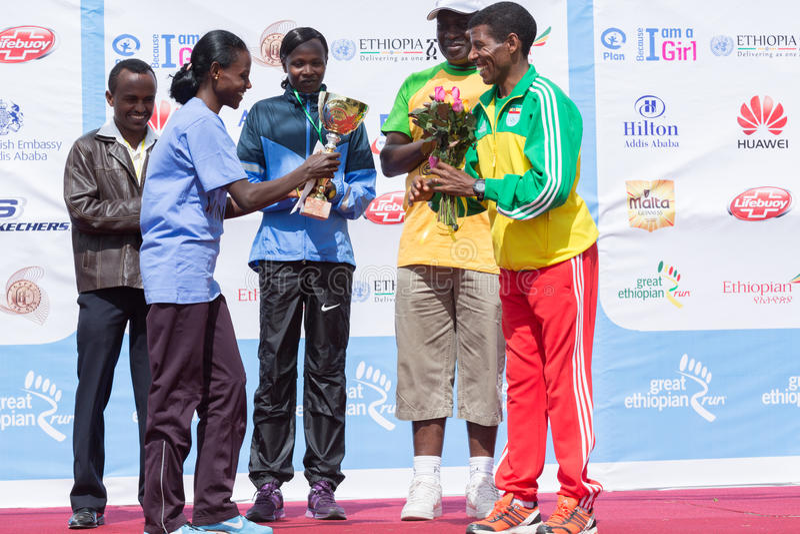 Winner of the 13th Edition Great Ethiopian Run women's race. Addis Ababa, Ethiopia – November 24: The winner of the 13th Edition Great Ethiopian royalty free stock photos