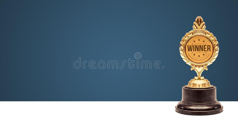 Winner Trophy award banner, Success concept on gradient background stock images