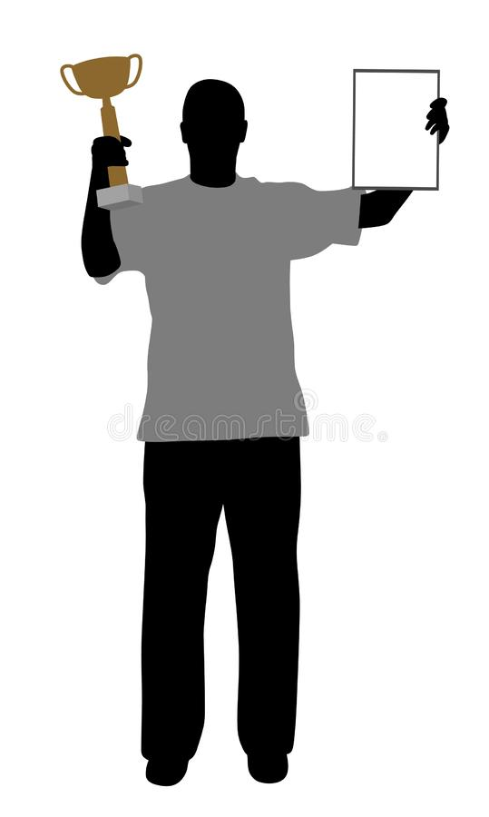 Winner with trophy and certificate. Illustration of a winner holding up a winning trophy and a certificate. Isolated white background. EPS file available royalty free illustration