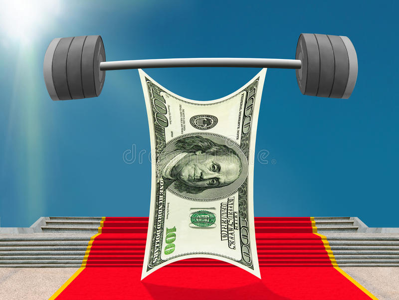 Strong US Dollar lifting heavy barbell of success. This is the moment of glory of the strong US Dollar as the weightlifter. The smiling character is standing on royalty free illustration