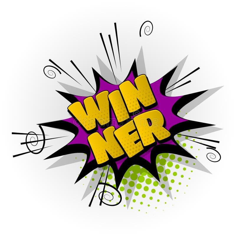 Winner Win Game Comic Book Text Pop Art Stock Vector  Illustration