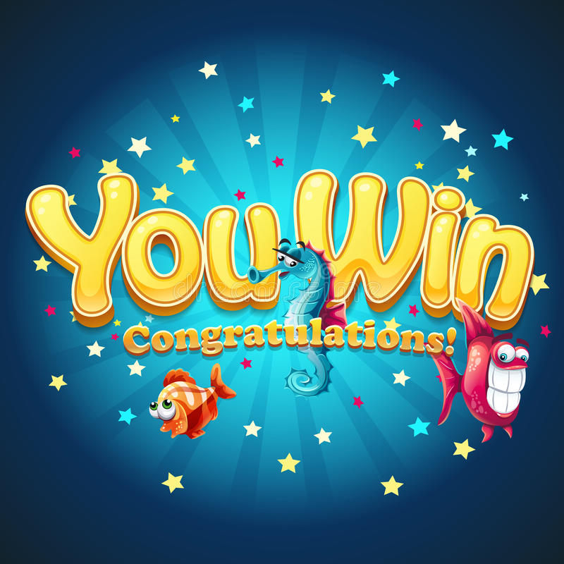 Winner window with fish in depths royalty free illustration