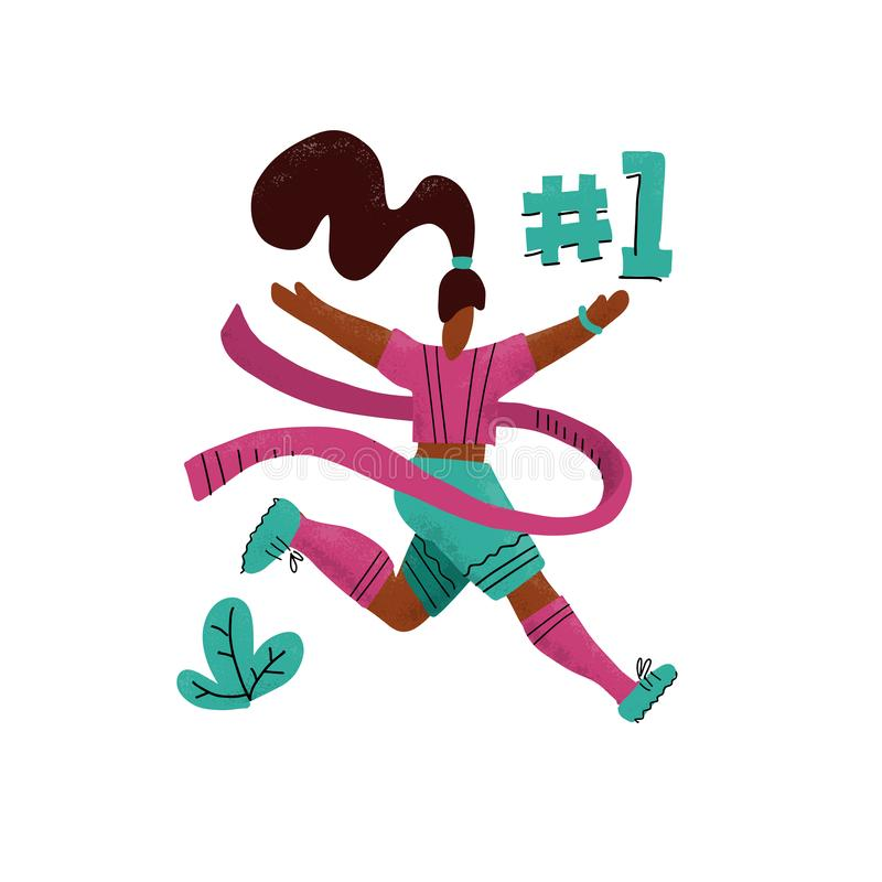Winner woman running into the finish. Happy hand drawn sports woman crossing finish tape. Athletic girl taking part in running stock illustration