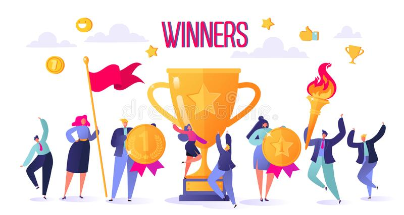 Successful business people with prize, golden goblet. Concept of business successful teamwork. Men and women celebrating victory. vector illustration