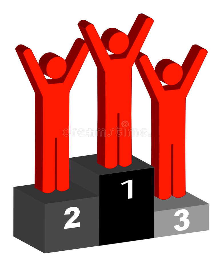 Winners. Happy stick figures standing on podium with first, second and third stock illustration