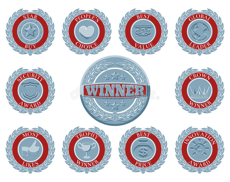 Winners award badges stock illustration