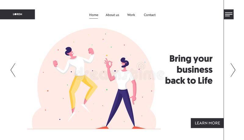 Winners Business Men or Friends Celebrating Victory or Successful Deal Website Landing Page. Happy People Gesturing Yes. And Ok Gestures with Arms Up Web Page royalty free illustration