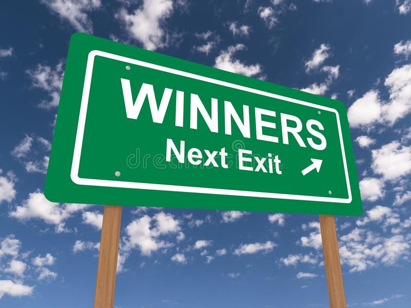Winners next exit road sign. Green highway or road sign with the words Winners Next Exit and an arrow. Blue sky and clouds background stock illustration