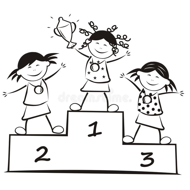 Winners on the podium, coloring book stock illustration