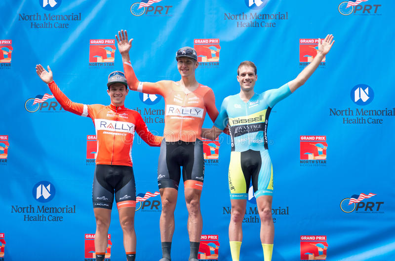 Winners Podium for Mens Time Trial. St. Paul, Minnesota, USA – June 15, 2016: Winners podium at North Star Grand Prix pro cycling event men's time stock photography