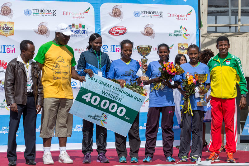 Winners of the 13th Edition Great Ethiopian Run women's race. Addis Ababa, Ethiopia – November 24: The winners of the 13th Edition Great Ethiopian royalty free stock photos