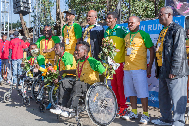 Winners of the 13th Edition Great Ethiopian Run women's race. Addis Ababa, Ethiopia – November 24: The winners of the 13th Edition Great Ethiopian royalty free stock photo