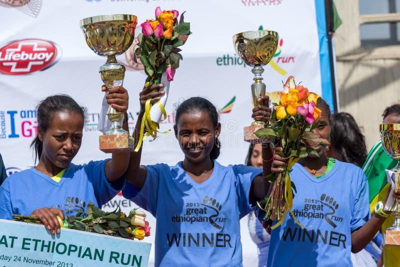 Winners of the 13th Edition Great Ethiopian Run women's race. Addis Ababa, Ethiopia – November 24: The winner of the 13th Edition Great Ethiopian royalty free stock photo