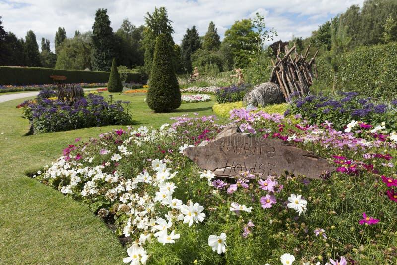 Winnie o temacie ogrodowy pokaz w farma parku Pooh, Jork, fotografia stock