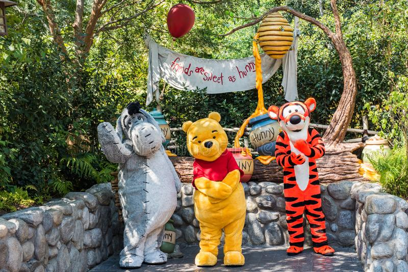 Winnie Pooh & de Vrienden in Disneyland in Anaheim, Californië stock afbeeldingen
