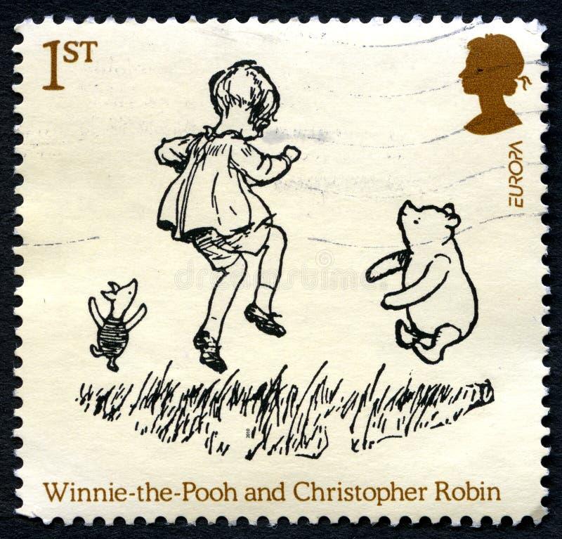 Winnie the Pooh UK Postage Stamp stock image
