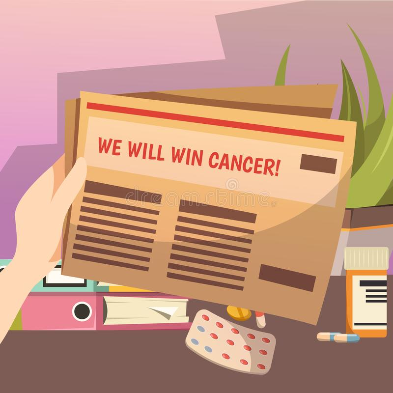 Winning Against Cancer Orthogonal Composition vector illustration