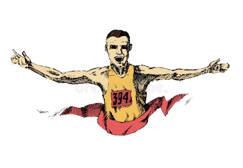 Winning athlete crosses the finish line stock illustration