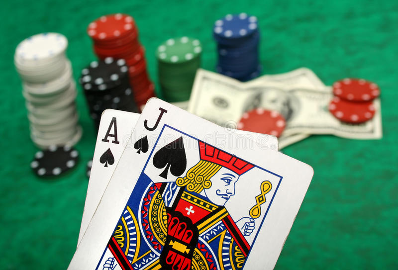 A winning blackjack hand stock image