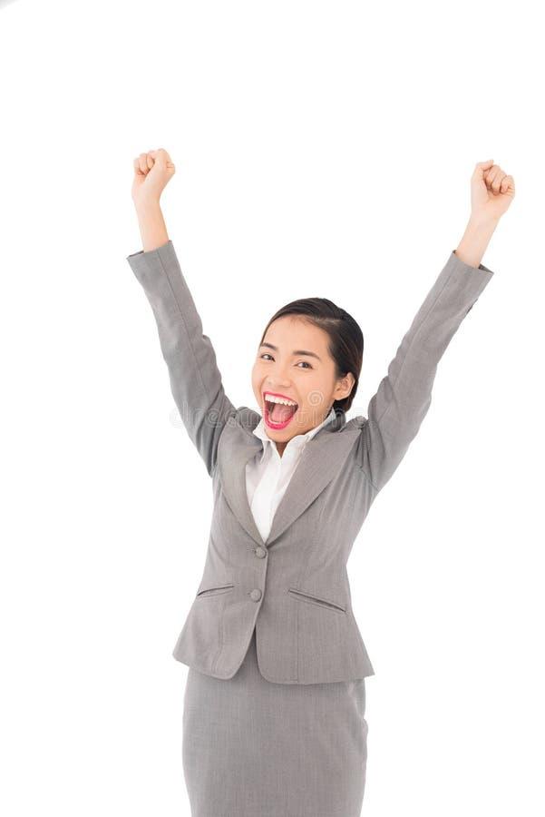 Winning business woman stock photo