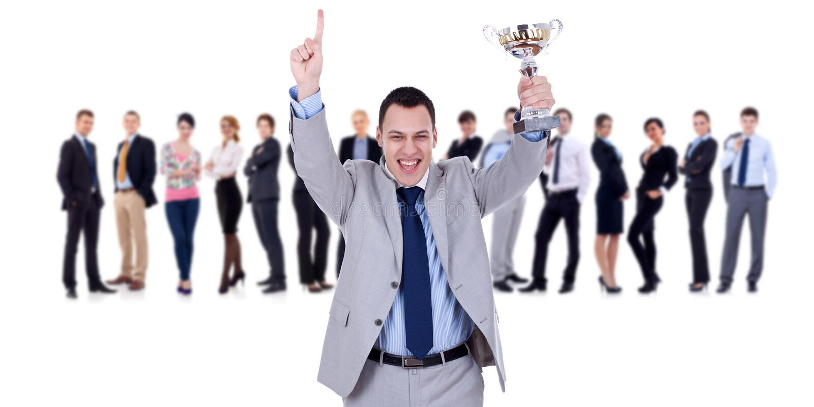 Download Winning Businessteam Leader Holding Trophy Stock Photo - Image: 18814200