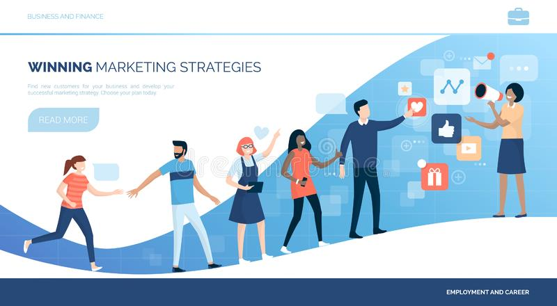 Winning customers with marketing strategies vector illustration