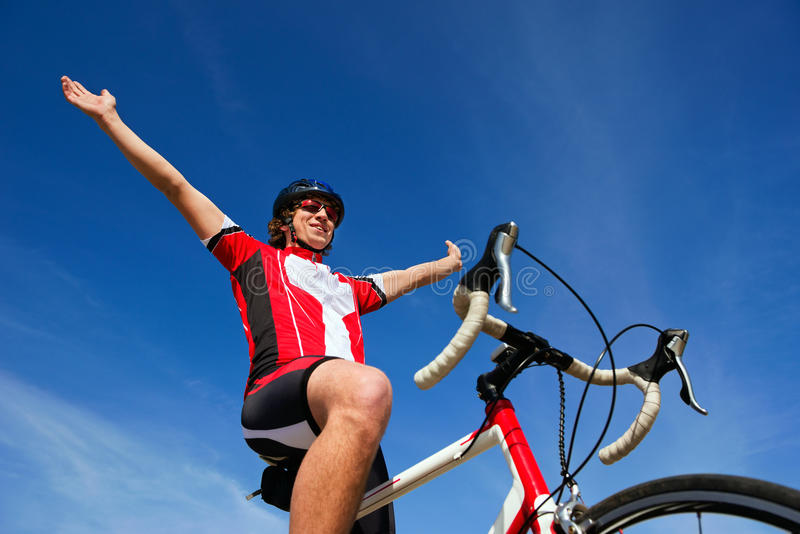 Winning cyclist royalty free stock photo