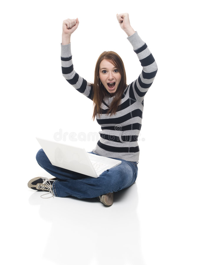 Winning laptop royalty free stock image