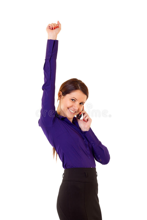 Winning on the phone royalty free stock images