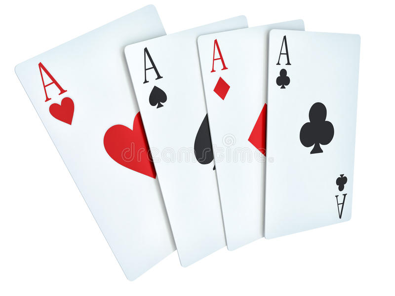 A winning poker hand of four aces playing cards suits on white.  royalty free illustration
