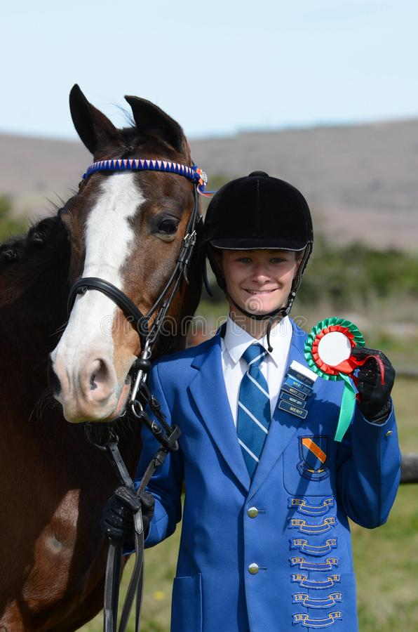 Winning rider and pony stock photography