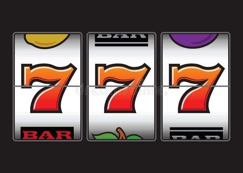 Winning slot machine. Winner triple sevens at slot machine vector illustration
