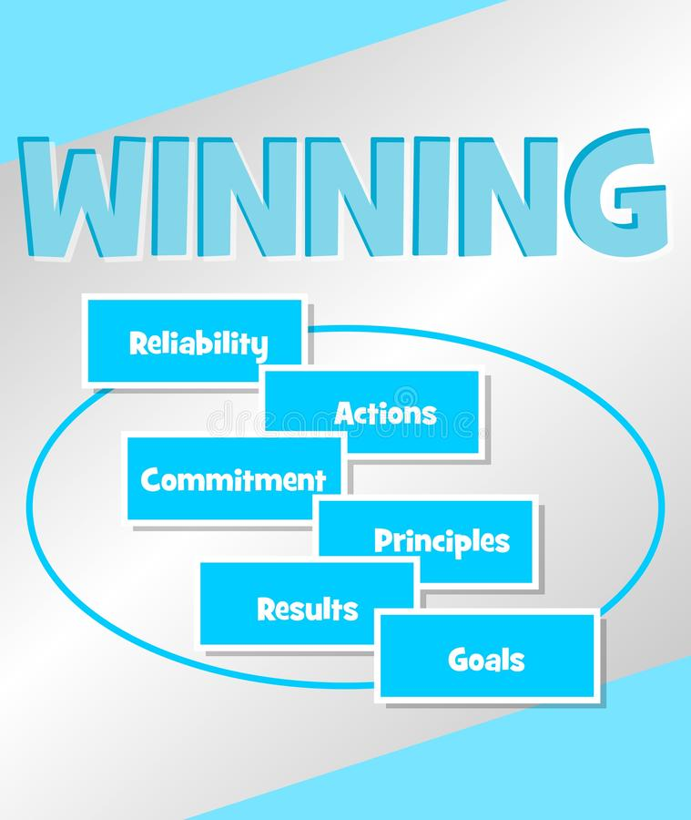 Winning strategy. Business concept in simple blue design. Concepts Reliability Actions, commitment principles, results vector illustration