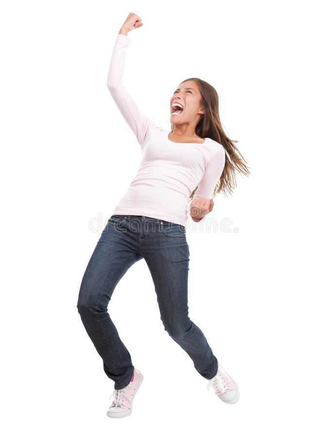 Winning success woman stock image